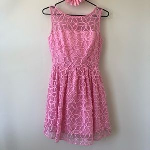 Pink Dress With Flower Embroidery.